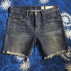 All Saints Raw Edge Cut Off Denim Shorts